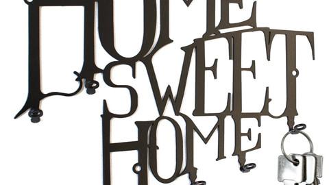 Schlüsselbrett Home Sweet Home - Hakenleiste - Stahl