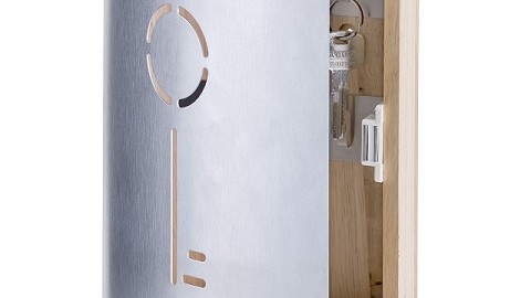 """Zeller 13846 Schlüsselkasten """"Schlüssel"""", Buche/Edelstahl / 23,5 x 16 x 5 cm"""